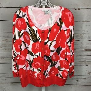 Peter Nygard Button Front Floral Cardigan 1X